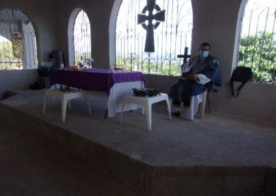 Anglican priest in church service